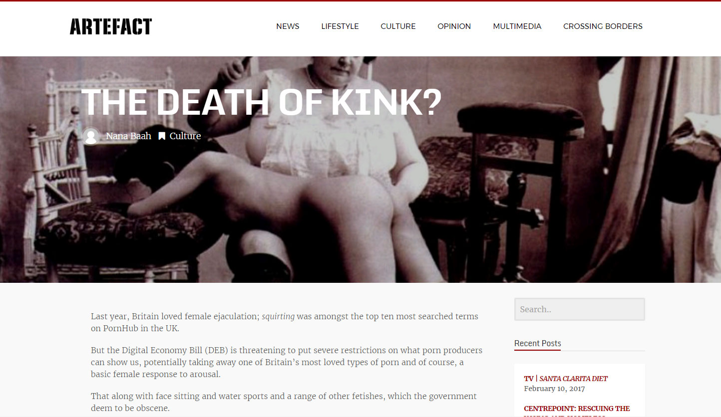 The Death of Kink? Interview in Artefact magazine