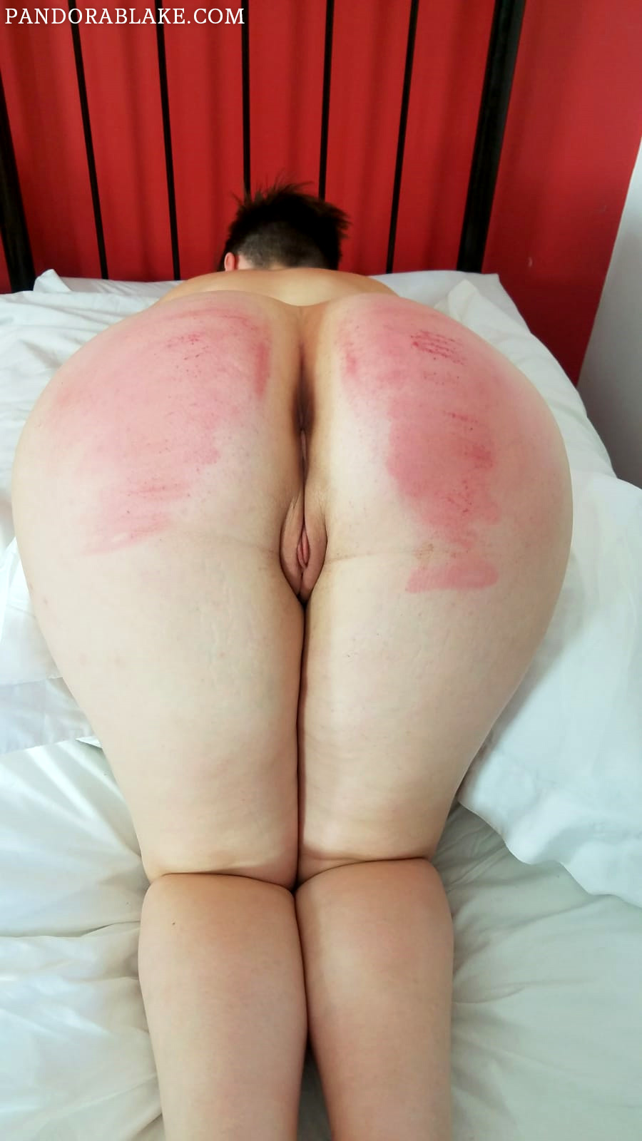Pandora Blake bends over for a birthday caning
