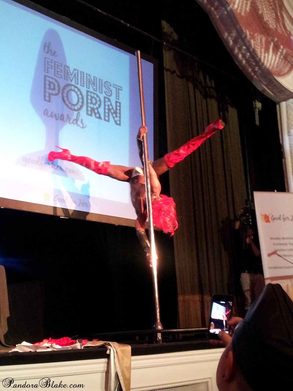 Male poledancer at the Feminist Porn Awards - photo by Pandora Blake
