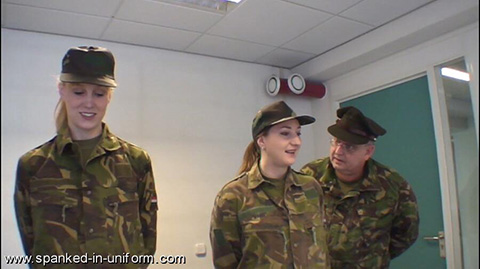 Pandora Blake and Amelia-Jane Rutherford spanked at the Montgomery Military Academy by Spanked in Uniform