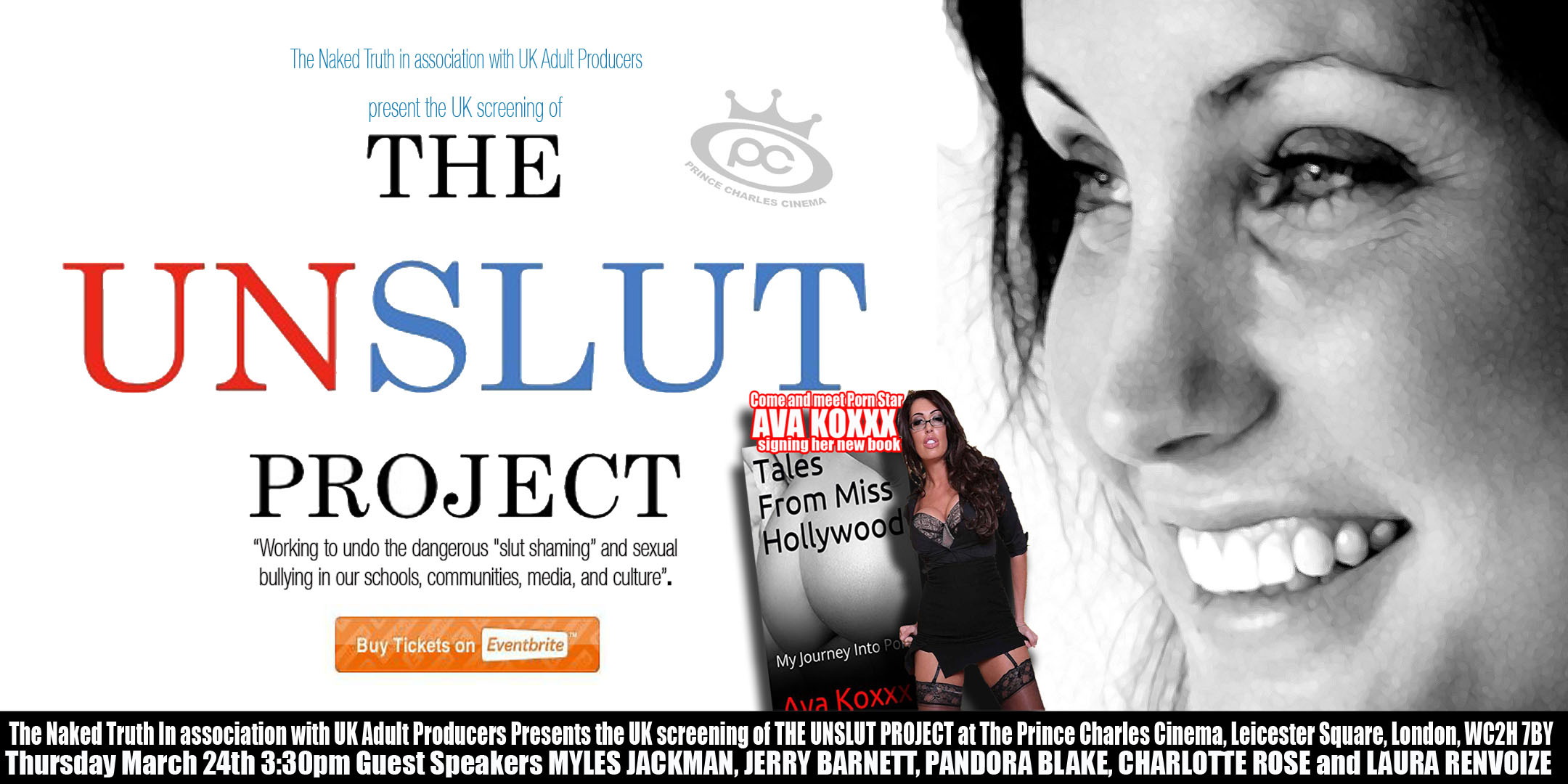 Flyer for the Unslut Project - UK screening and panel discussion